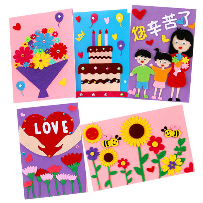 1 Set Non-Woven Felt Collage Thanks Card Crafts Children Cartoon DIY Sticker Toys Craft Decoration Stickers Educational Gifts