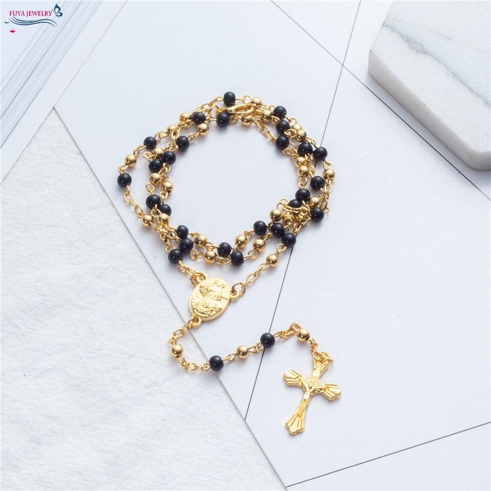 Розария Иисус Христос крест кулон ожерелья сплава бисера длинные цепочки мужские и женские Девы Марии христианской ювелирные изделия