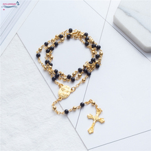 Rosary necklace Jesus christ cross pendant necklaces Alloy bead long chain mens women virgin mary christian fashion jewelry
