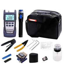 12 PCS Fiber Optic FTTH Tool Kit with FC-6S Fiber Cleaver and Optical Power Meter 5km Visual Fault Locator Wire stripper