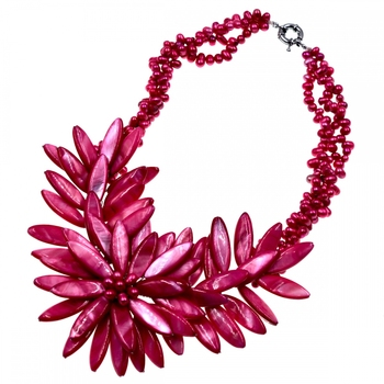 2018 Trendy fashion Peach pink shell flower necklace  For Women Jewelry HOT