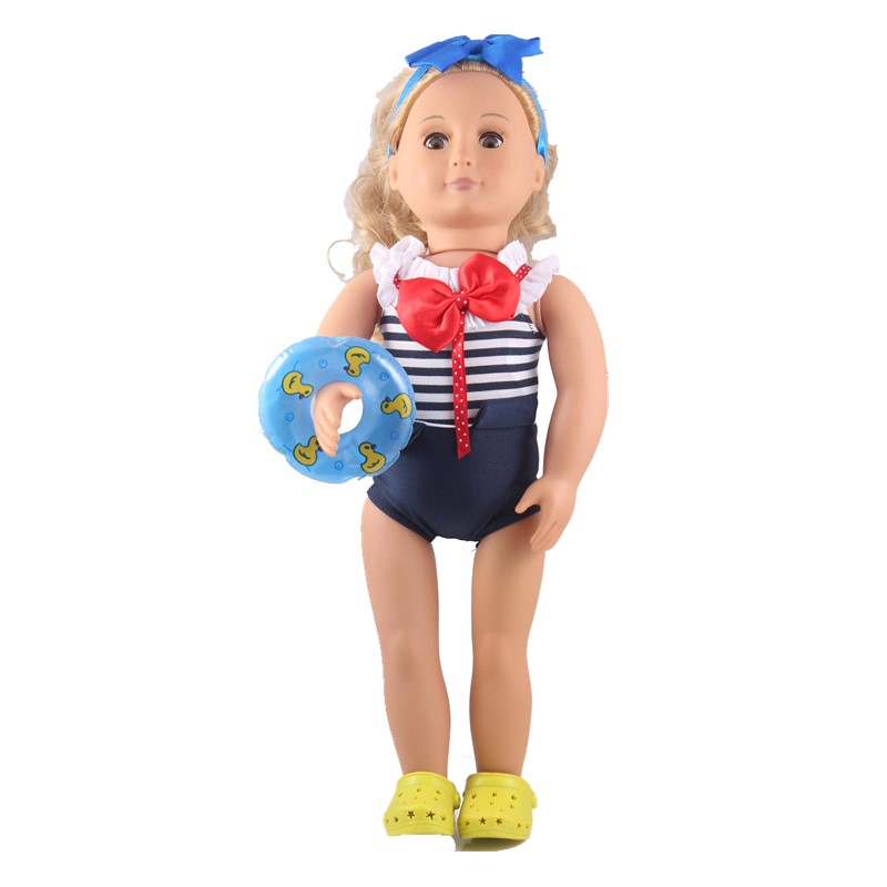 Clothes For Dolls The Joint Bathing Suit Pink Swimsuit For Dolls Headbands Sandals Fit American Girl Doll Baby Born Zapf Doll
