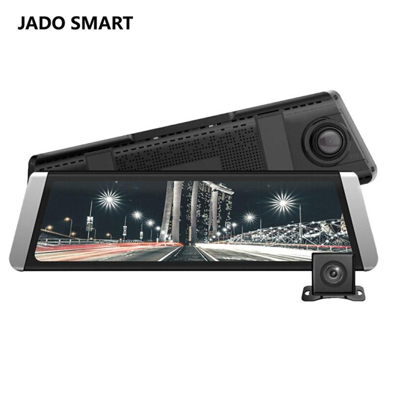 JADO D800 Fluxo de Carro Dvr Espelho Retrovisor Camera LDWS GPS Track 10 IPS Touch Screen Full HD 1080 p Car dvrs Recorder cam Traço