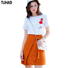 2017 summer women cotton embroidered T-shirt +skirt suit Women Skirt top Tee Skirt female Clothing 2 Piece Set FH20