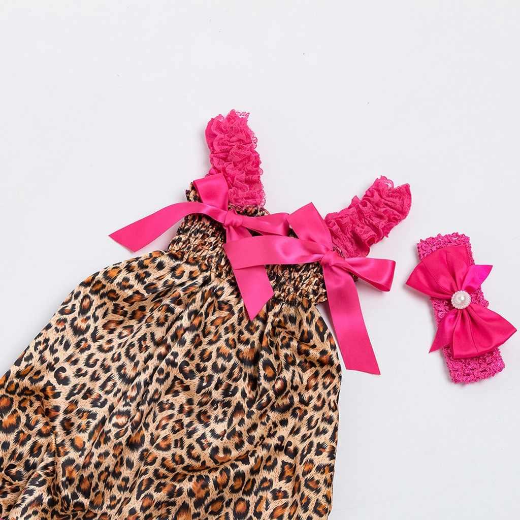 Maluch Boys Baby dziewczyny maluch Baby Girl ubrania zestaw Leopard Print Romper kombinezon + zestaw opasek strój