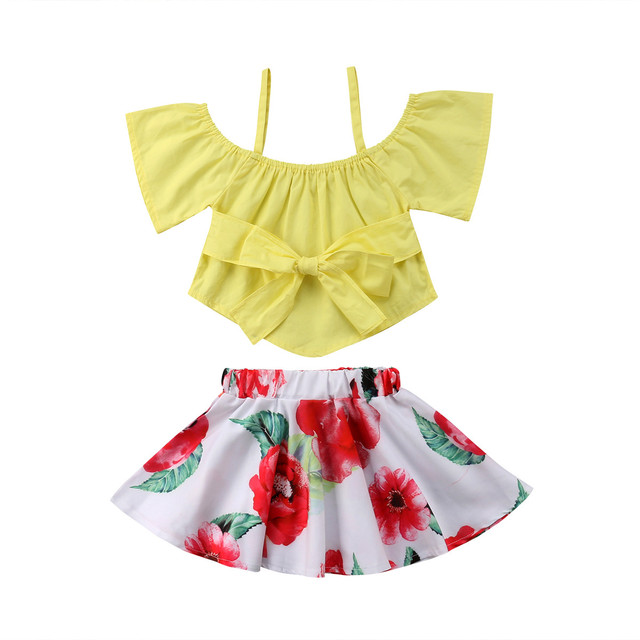 a25a0855be46dc Summer Toddler Kids Girls clothes off shoulder solid pullover short sleeve  Bow Tops Floral print Skirts 2pc coton Baby Outfit