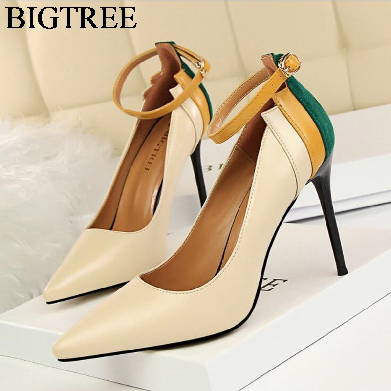 BIGTREE Autumn Brand Shoes Women Heels Pumps Sexy High Heel Pointed Toe Party Shoes Ankle Strap Office Pumps Zapato Mujer new women pumps transparent wedges high heels ankle pointed toe high heels pring autumn sexy shoes woman platform pumps