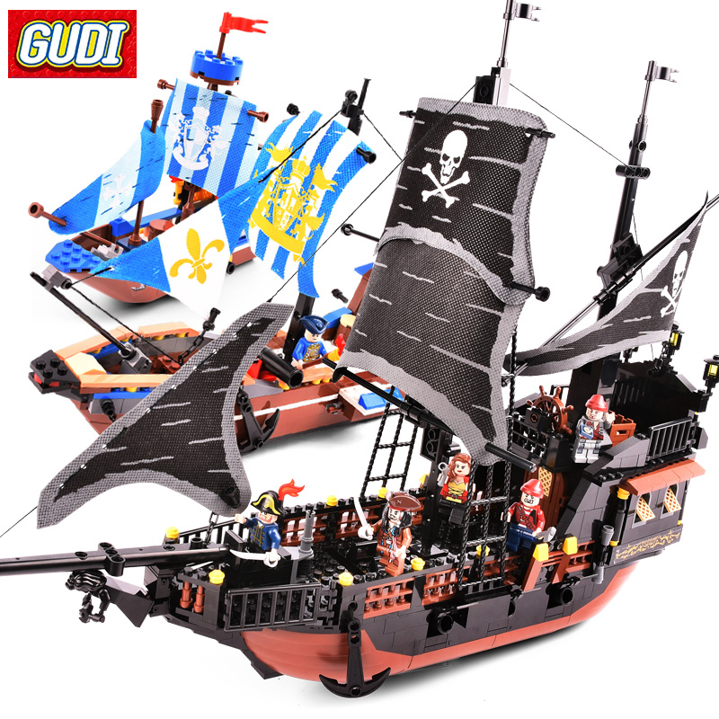 GUDI Pirates Building Blocks Pirates of the Caribbean Ship Black Pearl Compatible LegoINGlys Blocks DIY Bricks Toys For Children ghost zombie shark action bricks single sale pirates of the caribbean building bricks toys for children