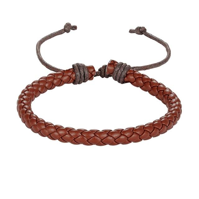 Новинка плетеный кружевной кожаный браслет в стиле панк регулируемый