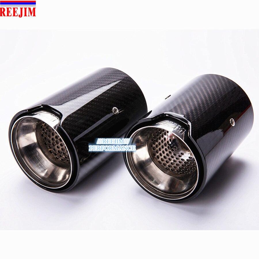 2 Piece Real Carbon Fiber Exhaust tip For BMW M Performance exhaust pipe M2 F87 M3 F80 M4 F82 F83 M5 F10 M6 F12 F13 X5M X6M diffuseur arrière carbone bmw x4 f26
