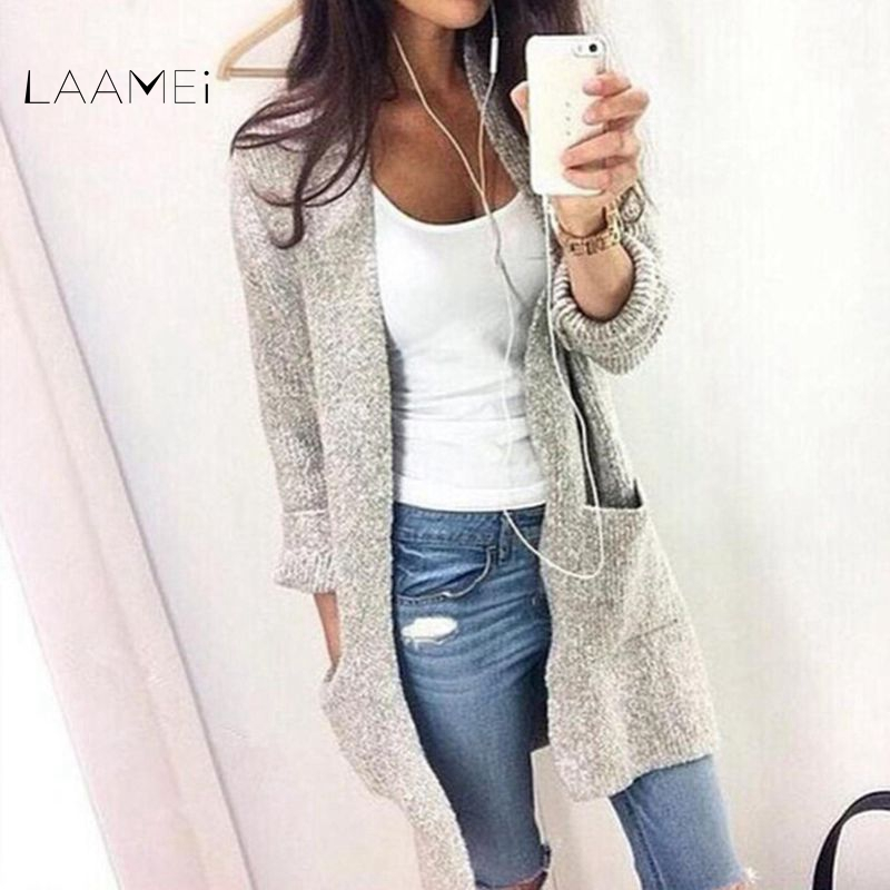 Laamei 2018 Autumn Winter Fashion Women Long Sleeve Loose Knitting Cardigan Sweater Women Knitted Female Cardigan Pull Femme