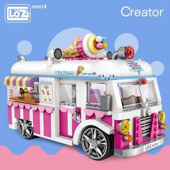 LOZ Mini Blocchi di Costruzione Mattoni Technic Ice Cream Van Rosa Della Torta Auto Bus Modello Assemblea Educativo di Giocattoli Per Bambini Regalo Creatore 1112