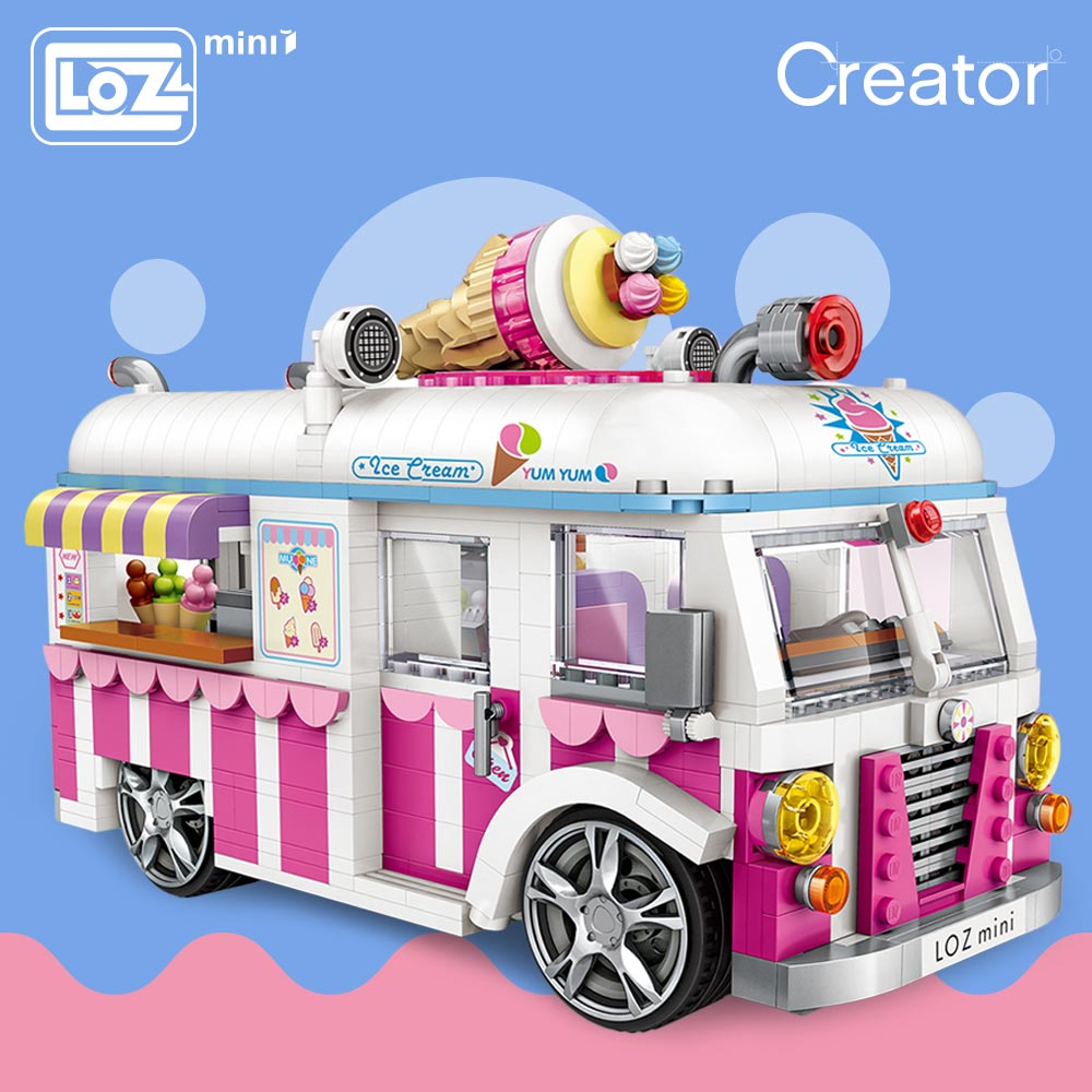 LOZ Mini Blocks Building Bricks Technic Ice Cream Van Pink Car Cake Bus Model Educational Assembly Kids Toys Gift Creator 1112LOZ Mini Blocks Building Bricks Technic Ice Cream Van Pink Car Cake Bus Model Educational Assembly Kids Toys Gift Creator 1112