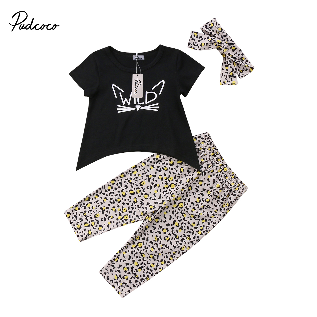 2018 Brand New Toddler Infant Child Leopard Kids Baby Girls Outfits Clothes T-shirt Tops Dress Long Pants Headband 3PCS Set 1-6T