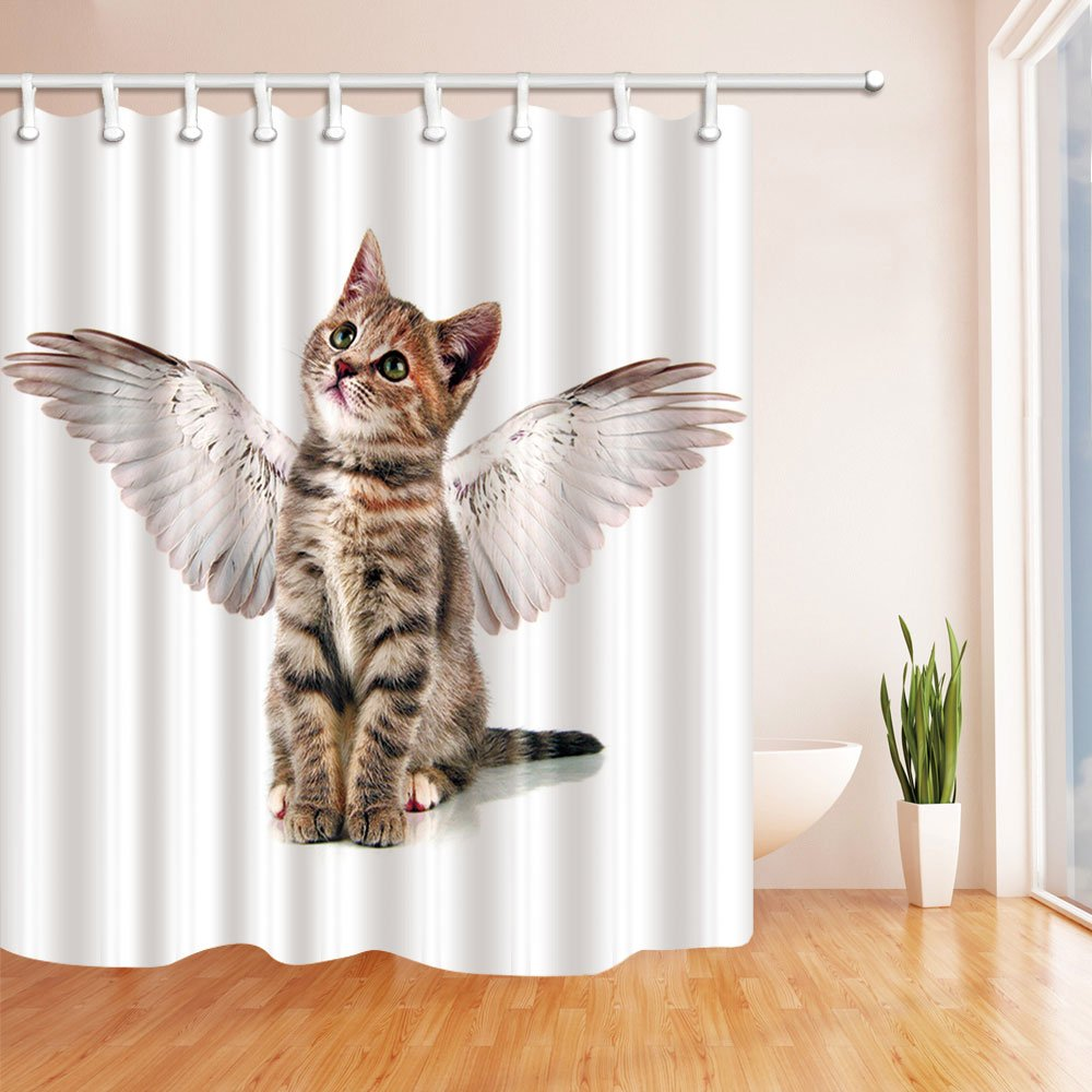 Animal Cat Shower Curtain Beautiful Lovely Cat With Wings