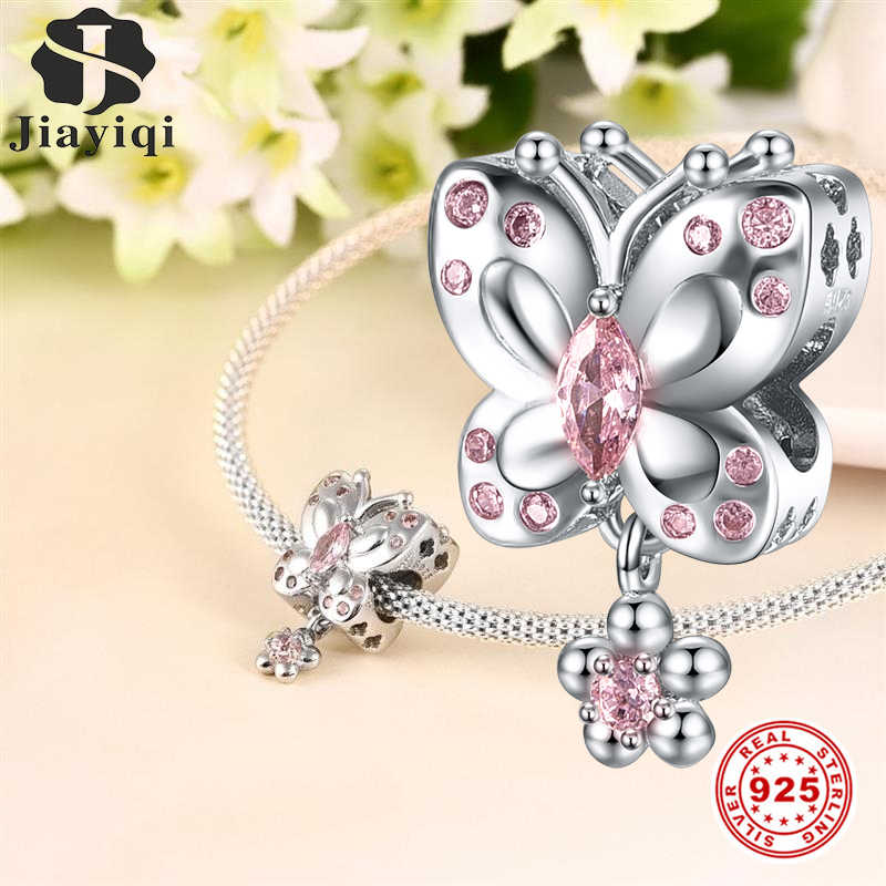 Jiayiqi Pink Butterfly Charms Fit DIY Bracelet Necklace 925 Sterling Silver Beads CZ Jewelry For Women Valentine'S Day Gift