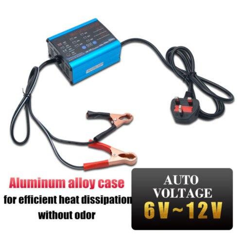 Chargeur de batterie de voiture électronique automatique 6 V/12 v chargeur rapide intelligent de puissance de ruissellement AGM acide humide pour moto de voiture avec prise UK