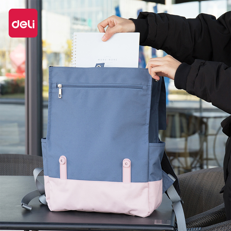 Deli 1pcs Shoulder File Backpack Casual Fashion Simple Student Blue Pink Large Capacity Canvas Multi-function File Package 69450