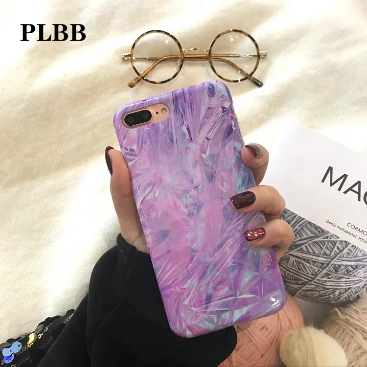 PLBB Luxury Laser Light <font><b>Purple</b></font> Pink <font><b>Color</b></font> Protector Capa Case For iPhone X 7 6 8 6s Plus Glossy Soft IMD Phone Back Cover Coque