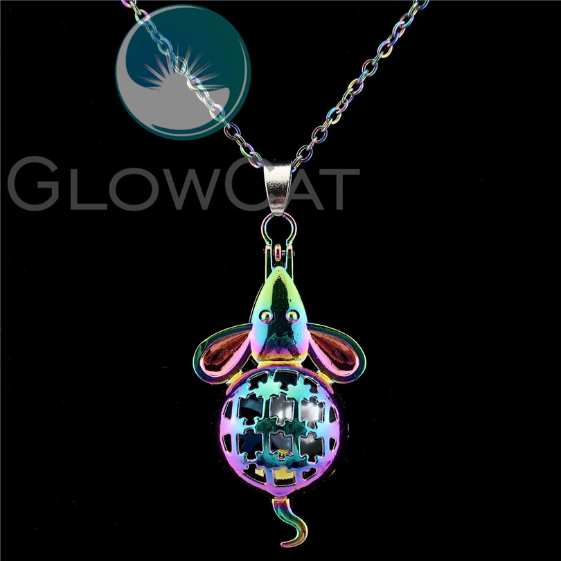 <font><b>C115</b></font> Rainbow Color Mouse Beads Cage Essential Oil Diffuser Aromatherapy Pearl Cage Magnet Locket Necklace Women Party Gift image