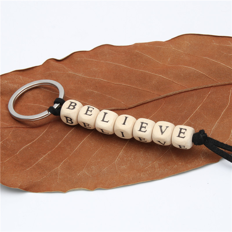 1pc Custom Key Ring Personalised Keyring Keychain Name Wood Xmas Gift Bagpack Tag Favour Gift Letter Handmade