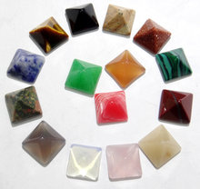 Wholesale 12mm 30PCS Natural Stone agates crystal Square Pyramid Cabochons no hole beads for Making necklace ring earrings(China)
