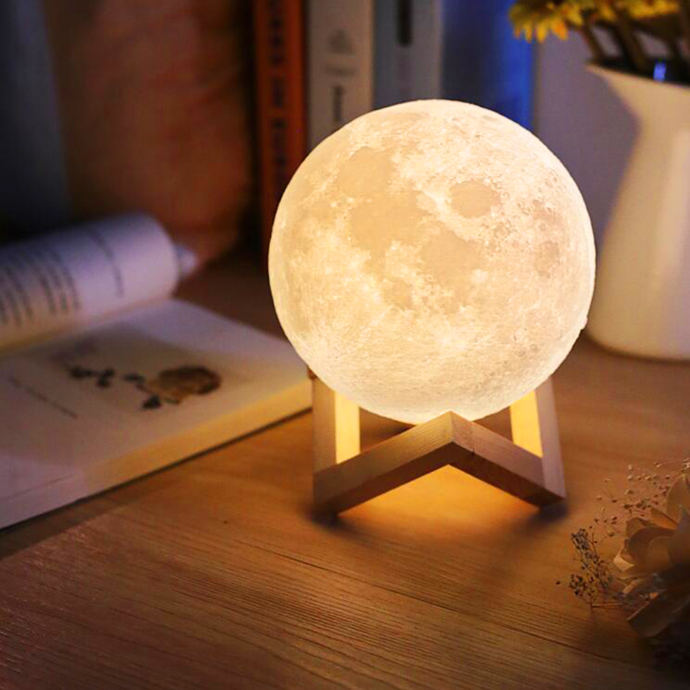 HGhomeart USB Charging Night Light Led 3d Printing Moon Lamp Luminaria Touch Control Brightness Two Color Change Bedside Lamps