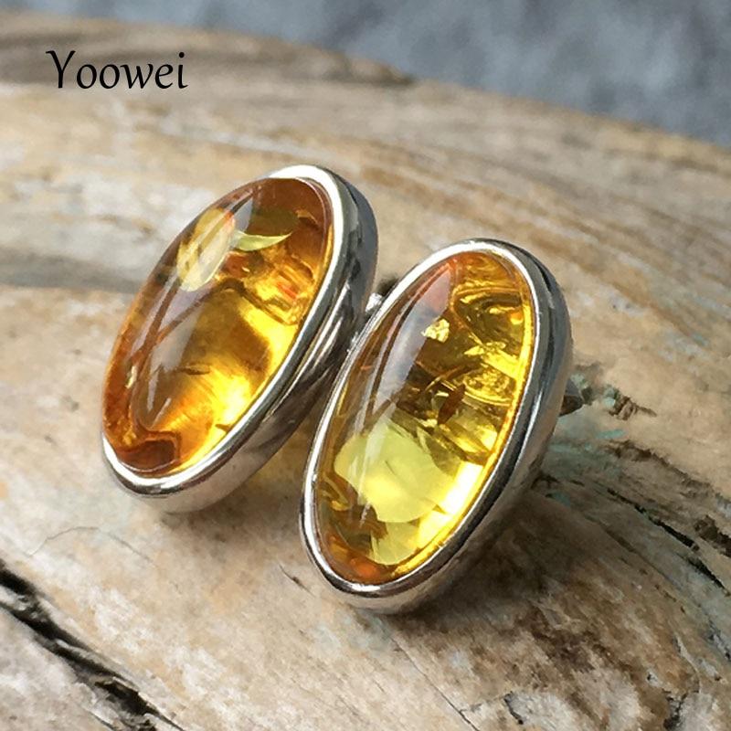 цена на Yoowei New Natural Amber Earrings for Women Oval Precious Stone OL Style Stud Earrings Baltic Original Amber Jewelry Wholesale