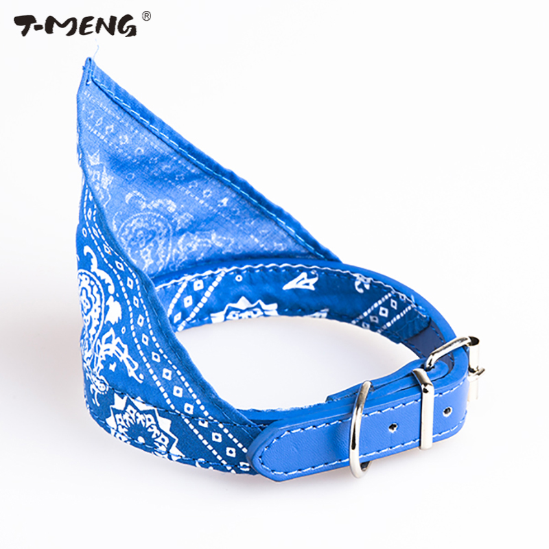 T-MENG Cool Fashion Style Puppy Dog Collar Adjustale Size Red Chinese Printed Cloth Goods For Pet Collars Cat Scarf Necklace