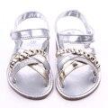 A Última Moda Bonita Sandálias Sola Dura Recém-nascidos Do Bebê Primeiros sapatos de Caminhada Verão Sandálias Sapatos 0-18 Meses de Bebê Menina
