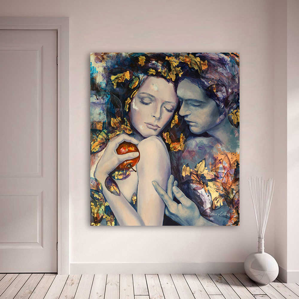 HDARTISAN Wall Art Oil Painting Figure Picture Couple Lovers Home Decor Wall Pictures For Living Room Canvas Art No Frame