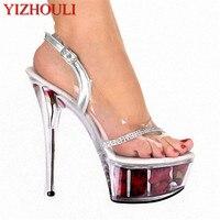 Rose bride wedding party 15 cm high heels, crystal clear platform fashion sandals