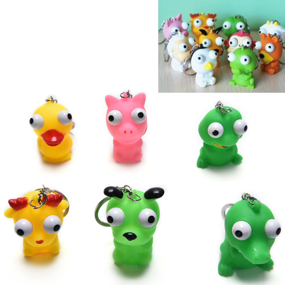 Bag Parts & Accessories The Best Funny Anti Stress Ball Novelty Bag Parts Accessories Animal Vent Toy Fun Extruding Big Raised Eyes Doll Keychain Squeezing Toys