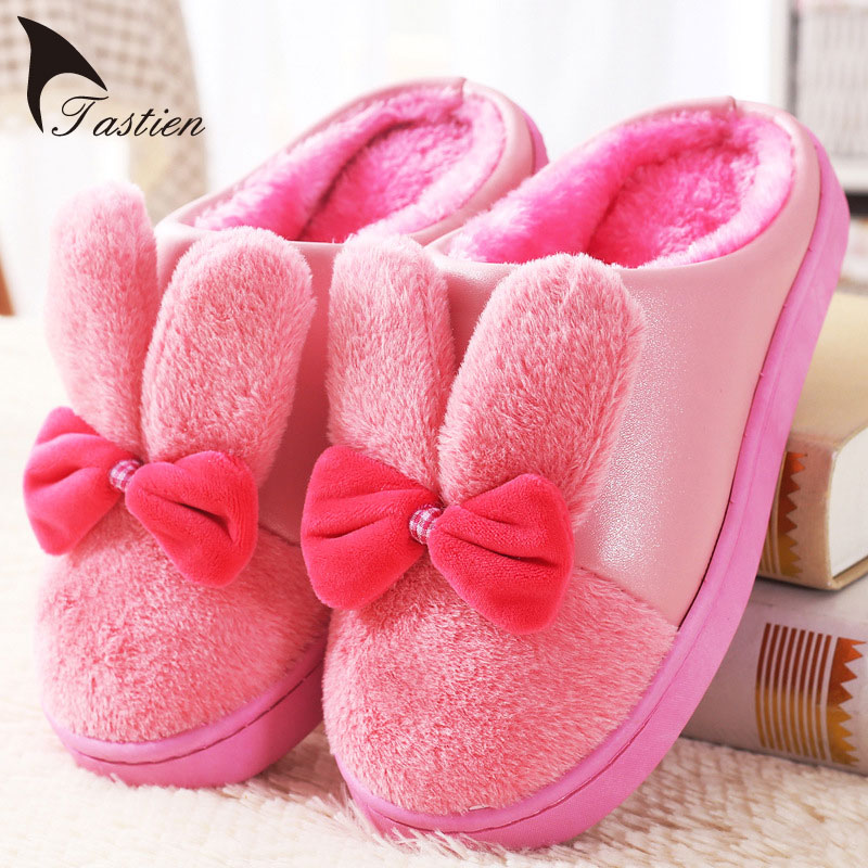 TASTIEN Kış Bayanlar Terlik Sıcak Kapalı Tavşan Kulaklar Kadın Ayakkabı Papyon Hapsi Ayakkabı Kaşmir Chinelos Femininos Botas