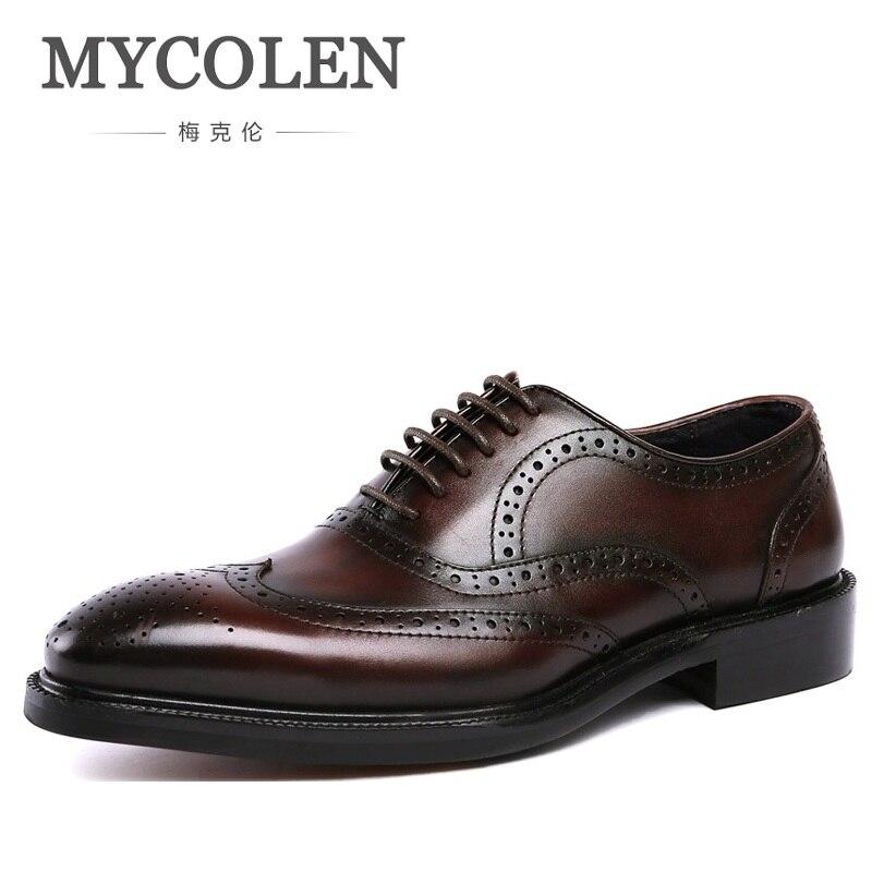 Couro Estilo Bullock Sapatos Vestir Do Negócios vermelho Elegante Genuíno Carving Vinho Oxford Para De Homens Vintage Mycolen Trabalho Italiano Preto qpOYtw