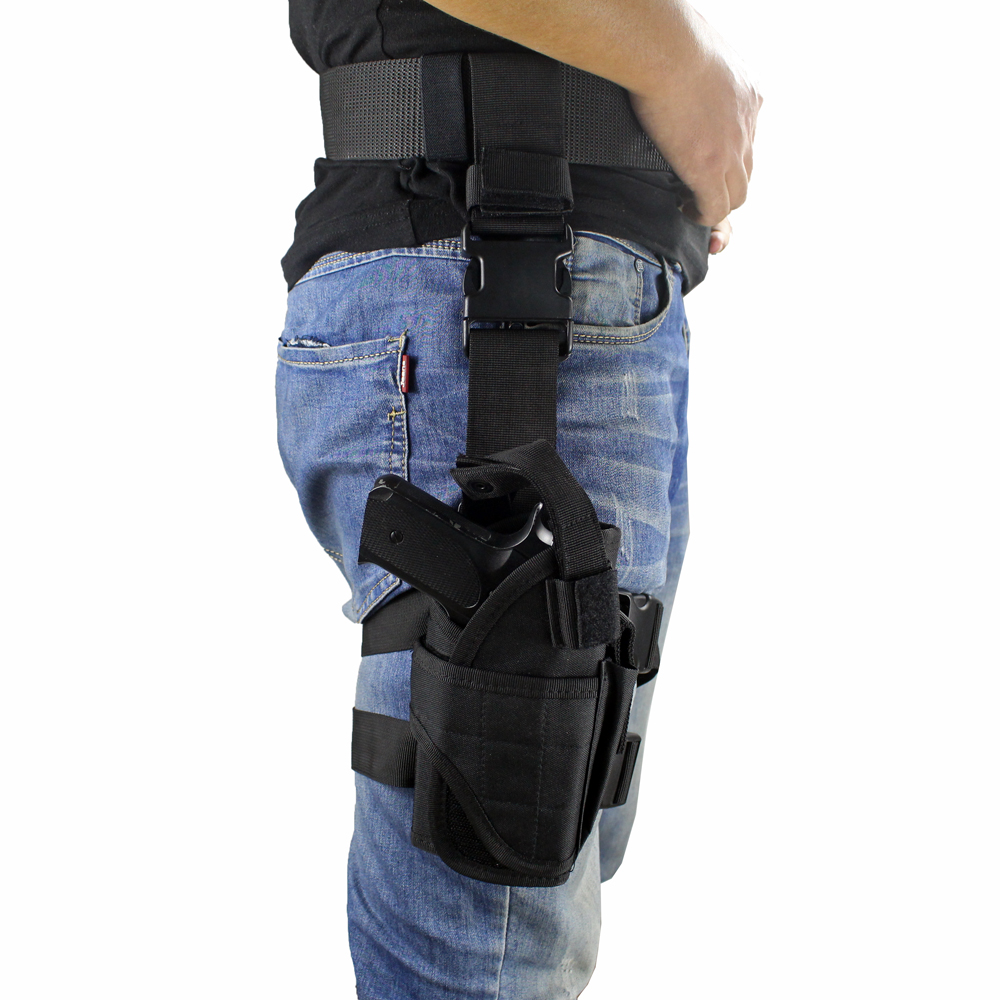 Image 4 - Tactical Universal Drop Leg Holster gun holster bag Adjustable Thigh Pistol Gun Holster for Right Handed-in Holsters from Sports & Entertainment