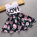Fashion LOVE Summer Girls Clothing Sets Two Piece Dress Sleeveless Top And Floral Skirt Cute Children Little Outfit Clothing