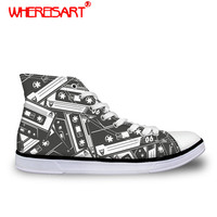 WHEREISART High top Vulcanized Shoes Women Music Printing Canvas Shoes Ladies Lacce up Magnetic Tape Pattern Sneakers Footwear