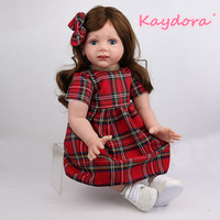 Kaydora 24 inch Princess Doll long hair Baby Reborn Silicone lol Girl Toys Lifelike red dress Baby Doll Gift Christmas Playmate