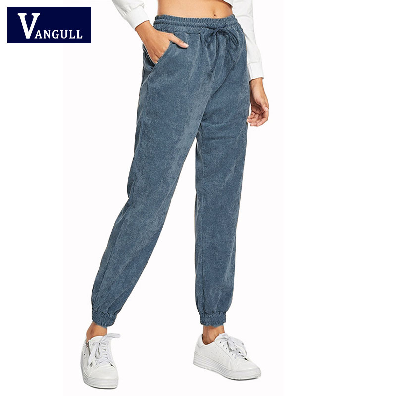 Vangull New Women's   Pants   Women Spring Autumn Winter High Waist   Wide     Leg     Pants   2019 casual Loose Corduroy Cropped Trousers