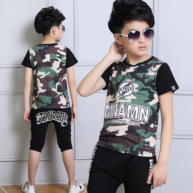 2017 New 5 6 8 10 12 Years Big Boys Camouflag Clothing Set 100 Cotton Patterns Clothing Suit For Summer Shirt Shorts 2 Pieces