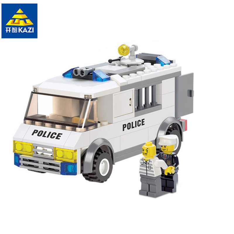 KAZI Police Prisoner Transport Building Blocks Sets Bricks Model Brinquedos Educational Toys for Children 6+ 135pcs 6730 407pcs sets city police station building blocks bricks educational boys diy toys birthday brinquedos christmas gift toy