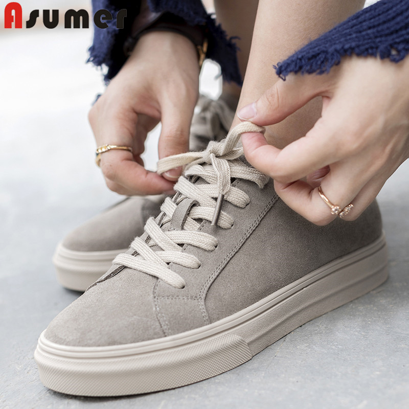ASUMER 2019 fashion new flats women round toe lace up suede leather shoes women casual comfortable