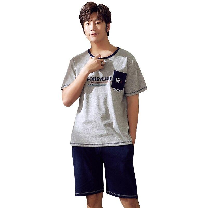 Pajamas Set For Men 100% Cotton Casual Letter Pocket O-neck Sleepwear Pyjamas Summer Shorts Pajamas Big Size L-XXL