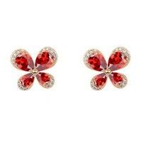 E12538 nuevo rojo blanco cristalino de LA CZ pendiente de la mariposa de la aleación de oro rosa de color plata con el cristal de Austria circón joyería de moda