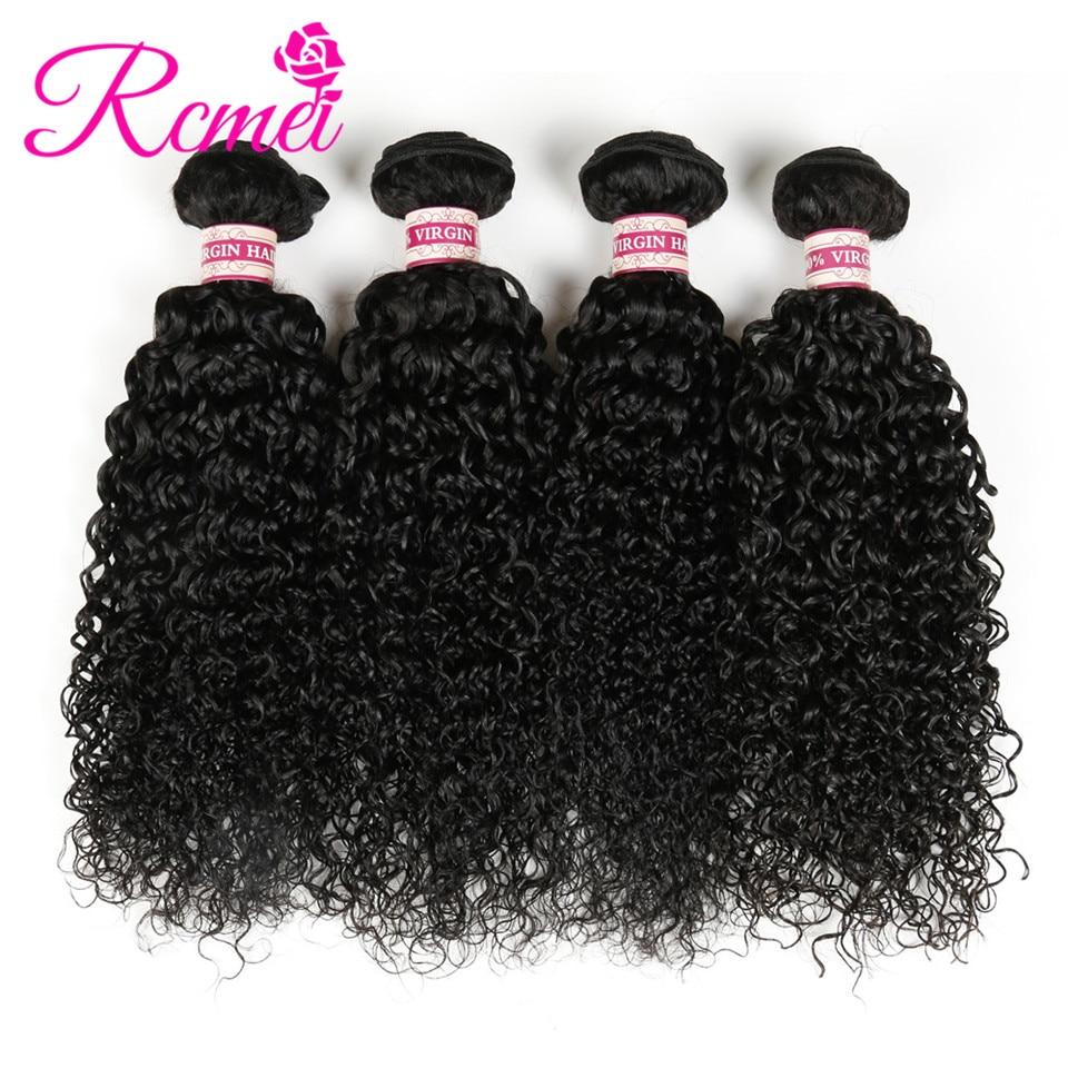 Rcmei Brazilian Kinky Curly Weave Bundles 12-30 Inch Brazilian Virgin Human Hair 4 Bundle Deal Natural Color Curly Hair Weaving
