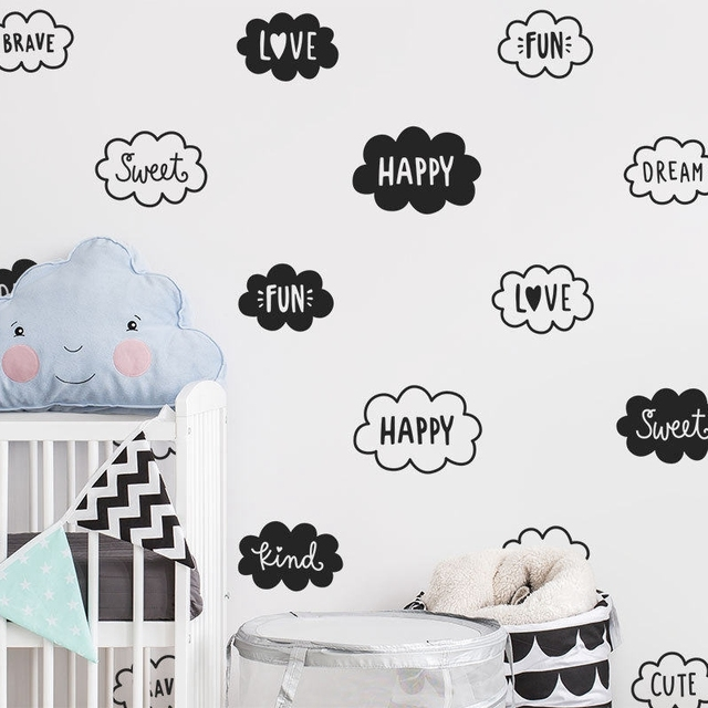 Cute Cloud Wall Decals Nursery Art Decor Vinyl Words Wall Sticker For Kids  Room Decoration