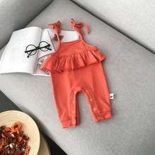 734c1740c05 Everweekend Ins Baby Girls Ruffles Halter Rompers Spring Autumn Fashion  Toddler Kids Clothing Pink Orange Color