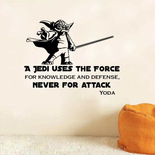 W 23 star wars yoda quote a jedi uses the force 3d wall stickers wall