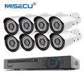 MISECU 48 В 8-КАНАЛЬНЫЙ 1080 P POE NVR 1.0mp 48 В PoE Камера Hi3518E HD P2P HDMI Металл Камеры Системы Видеонаблюдения 24 шт. ИК ПК и Телефона XMeye